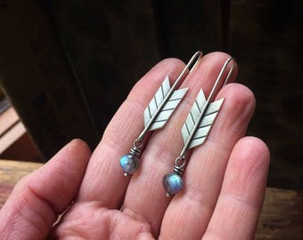 sterling silver arrow earrings with labradorite ~ personalized with your custom stamped message OR Just be BRAVE