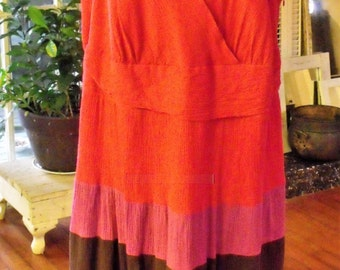 Size 22 Multi Tier Full Skirt Cotton Dress/ Gorgeous Plus Size Holiday Red Dress by Robbie Lee/ Shabbyfab Holiday
