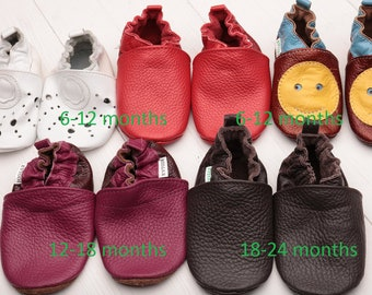 HOT SALE -50% Baby shoes Leather baby shoes, Soft sole baby shoes leather, Baby girl shoes, Baby boy shoes, Size 6-12, 12-18, 18-24- months