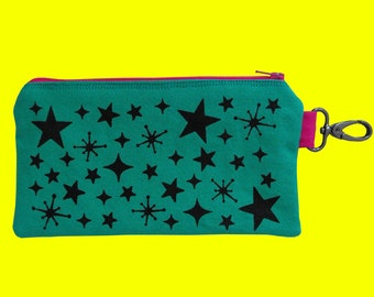 Zipper Pouch Star Print Pouch Emerald Green Pencil Pouch Screen Printed Pouch Wallet Stars Phone Case Punk Purse Cosmetic Bag MakeUp Pouch