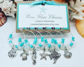 Wine Charms, Beach Wine Charms, Beach Bridal Shower Favors, Coastal Wine Glass Charms, Beach Gift, Wine Gift, Beach Decor, LasmasCreations