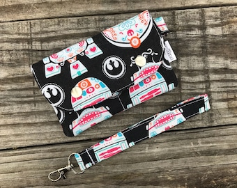 Wallet Wristlet Clutch SMALL Sugar Skull Droids Star Wars Ready To Ship