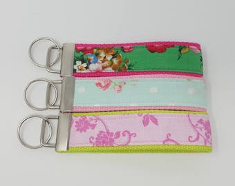 Floral Fabric Key Fob, Floral Key Wristlet, Key Chain