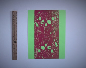 Abstract Ant Print - Neon Green and Red