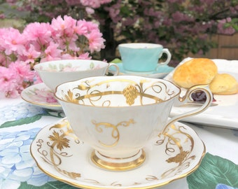 TEACUP, Vintage English Bone China Teacup and Saucer by Royal Albert, Wide Mouth, Wedding Gift Inspiration