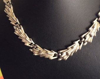 Monet Signed Decorative Silver Toned Collar Necklace