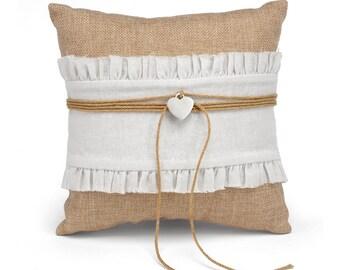 Ring Pillow For Rustic Wedding, Wedding Ring Pillow, Burlap Wedding Ring Pillow, Ring Bearer Pillow, Rustic Ring Pillow, Rustic Wedding