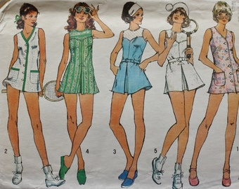1970s Sleeveless TENNIS Dress / Panties /Simplicity 5632 /Vintage Sewing Pattern