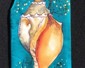 Handpainted Silk Eye Glass Case with Sea Shell Design