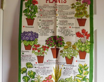 Vintage House Plants Kitchen Towel