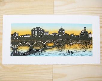 "Woodblock Print - ""Rockford Skyline"" - Rockford Illinois - Sunset - Cityscape - Riverscape - Rock River - Jefferson Street Bridge"