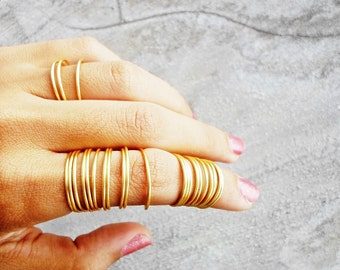 24 Stacking Rings , Gold Full Finger Ring , Coil , Dainty / Wire Wrapped / Silver Statement Ring / Knuckle Ring , Mid Ring , Above Knuckle