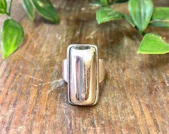 Vintage Silver Ring, Minimalist Ring, Sterling Silver, Vintage Jewelry, Large Ring, Statement Jewelry, Rectangle Ring, Thick Band