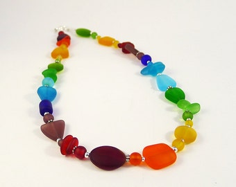 Rainbow necklace sea glass necklace sea glass jewelry seaglass beach glass rainbow colors recycled glass mothers necklace gift for mom sis