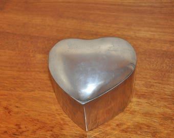 Vintage Heavy Aluminum Heart Trinket Box