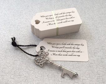 """Skeleton Key BOTTLE OPENERS + """"Poem"""" Thank-You Tags – Wedding Favors set of 100 - Ships from United States - Antique Silver"""