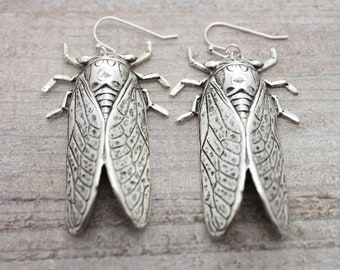 Silver singing cicada earrings