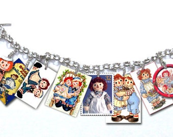 Raggedy Ann And Andy Dolls Retro Vintage Character Images Charm Bracelet