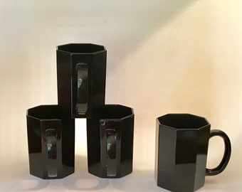 Vintage French Black Glass Mugs, Octime France, 22 available