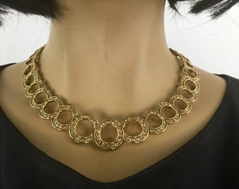 Monet Gold Collar Necklace Rhinestone Bib Choker Modernist Statement Jewelry Circles Gift for Her Unique 1980s Jewelry