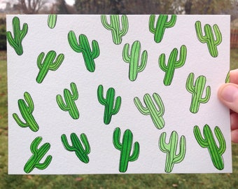 Cactus Watercolor Painting, Cactus Art 5x7, Mini Cactus Painting, Cactus Wall Art, Southwestern Art, Cactus Lover Gift, Christmas Gift