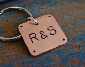 Couples Gift, Initials Keychain, Hand Stamped, Metal Key Chain, 7th Anniversary Gift, Copper Gifts, Gift for Him, Gift for Her, Romantic