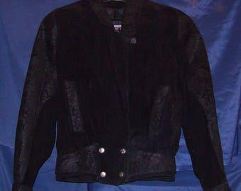 Vintage Women's Wilsons Black Peplum Moto Crop Suede Leather Blazer Jacket Medium Rarely Used Like New