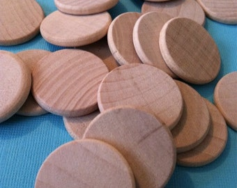 Unfinished Wooden Circles 3/4 inch - Pack of 100 - Natural Wood for Craft Tags and Packaging