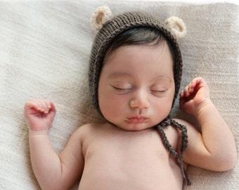 Newborn Photo Prop, Bear baby bonnet, Baby Knit Hat, Brown Baby Bonnet, Newborn Baby, Baby boy Hat, Newborn Photo