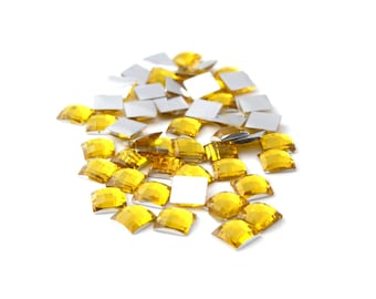 50 6mm faceted square yellow rhinestones