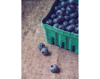 Food Photography 5x7 Print Still Life Photography Kitchen Decor Blueberries Print Kitchen Photography Blueberry Rustic Farmhouse Kitchen Art