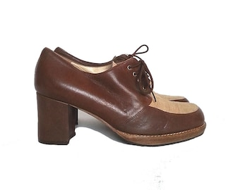 90s COUNTRY club BOOTIES leather canvas ankle boots lace up chunky heel tie oxfords bassotto lady western // size 5 us / 2.5 uk / 35 eu