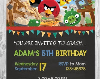 Angry Birds Invitation * Angry Birds * Printable * Birthday Party * Digital Invitation * 4x6 or 5x7 * Personalized Invitation Card.