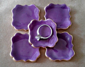 FIVE  Ceramic ring bowls TINY Purple edged in gold
