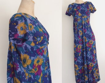1970's Jewel Tone Floral Print Maxi with Cape Back Size Large XL by Maeberry Vintage
