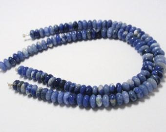 "Sodalite Rondelle Beads, 6mm Blue Sodalite Natural Gemstone Beads, 8"" Strand - 61 Beads"
