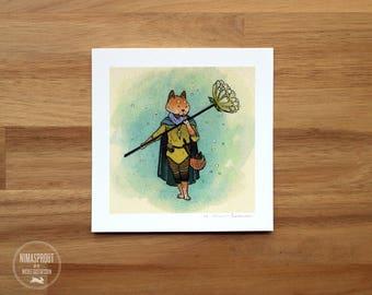 Fox Flower Guardian - Mini Fine Art Print
