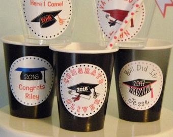 Graduation Favors - 2.5Personalized Graduation Cup Stickers - Graduation Party Favor Stickers - College High School Stickers - Bag Stickers