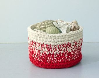 Cotton Storage Basket, Crochet Basket, Entryway Organizer,  Easter Basket, Housewarming Gift, Hostess Gift, Nursery, Bathroom