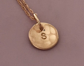 """Hammered Initial Necklace in 14k Rose Gold , Custom Stamped Personalized Hammered Disc Charm, 5/16"""""""