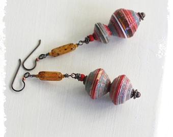 Urban tribal earrings, Gypsy earrings, Glass and paper bead earrings, Hippie earrings, Boho dangle earrings for women, Long earrings -