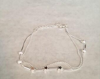 Silver tone adjustable ankle bracelet