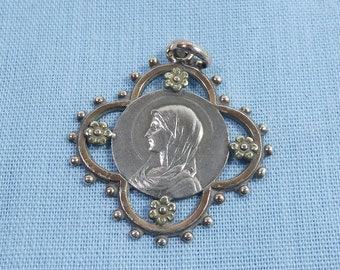 Antique Sterling Silver Virgin Mary Religious Pendant Charm For Necklace Chain Medallion Medal
