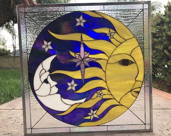 Beautiful Star, Sun & Moon stained Glass Window Panel #4  (We do custom work! Please email me for a quick quote)
