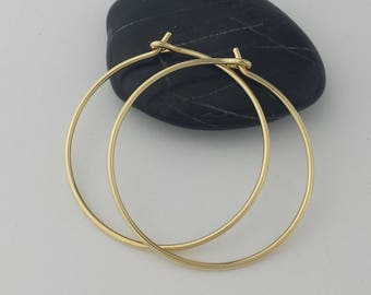 Thick 18k Solid Gold Hoop Earrings, 18 Gauge, Solid Gold Hoop Earrings, Solid 18k Gold Hoops, Solid Gold Earrings, Mothers Day Gift for Her