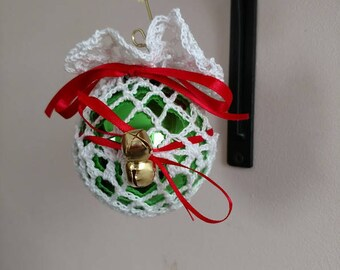 Christmas Ball ornament with  crochet bag cover