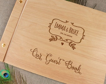 Alternative Personalized Wedding Guest Book, Wood Guest Book, Rustic