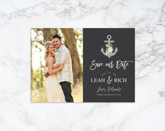Printable Anchor Theme Save the Date Invitation