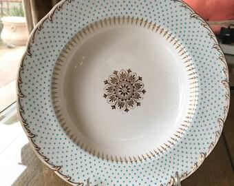 Tiffany And Company Dinnerware Set 10 Antique Minton Soup Plates with Turquoise Enameled Beading On Rim China Set  Wedding Gift Circa 1895