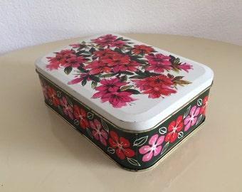 Verkade bloemenprint retro koektrommel vintage cookies tin with floral design